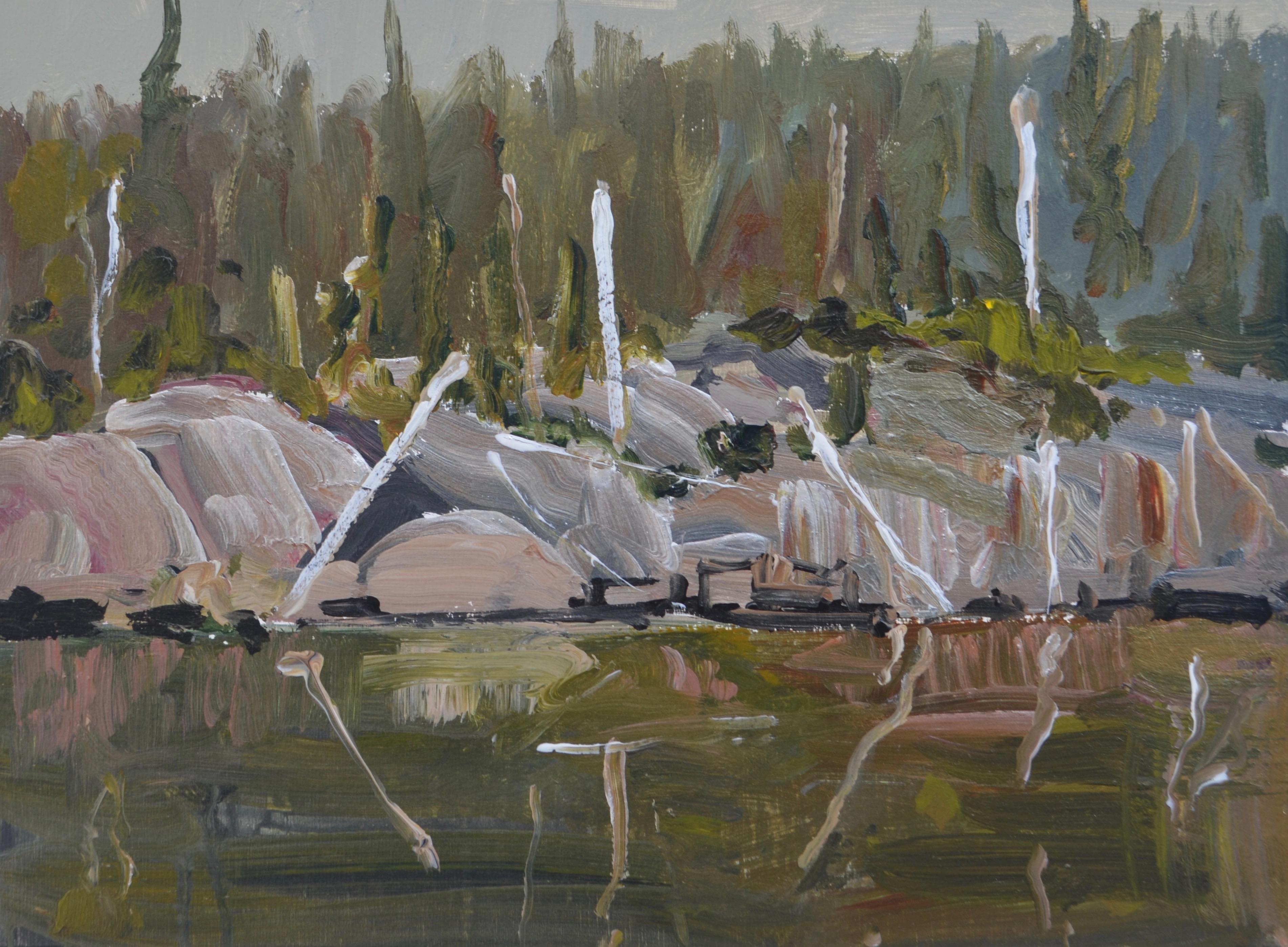 Dead Birches acrylic panel 11_ x 14_