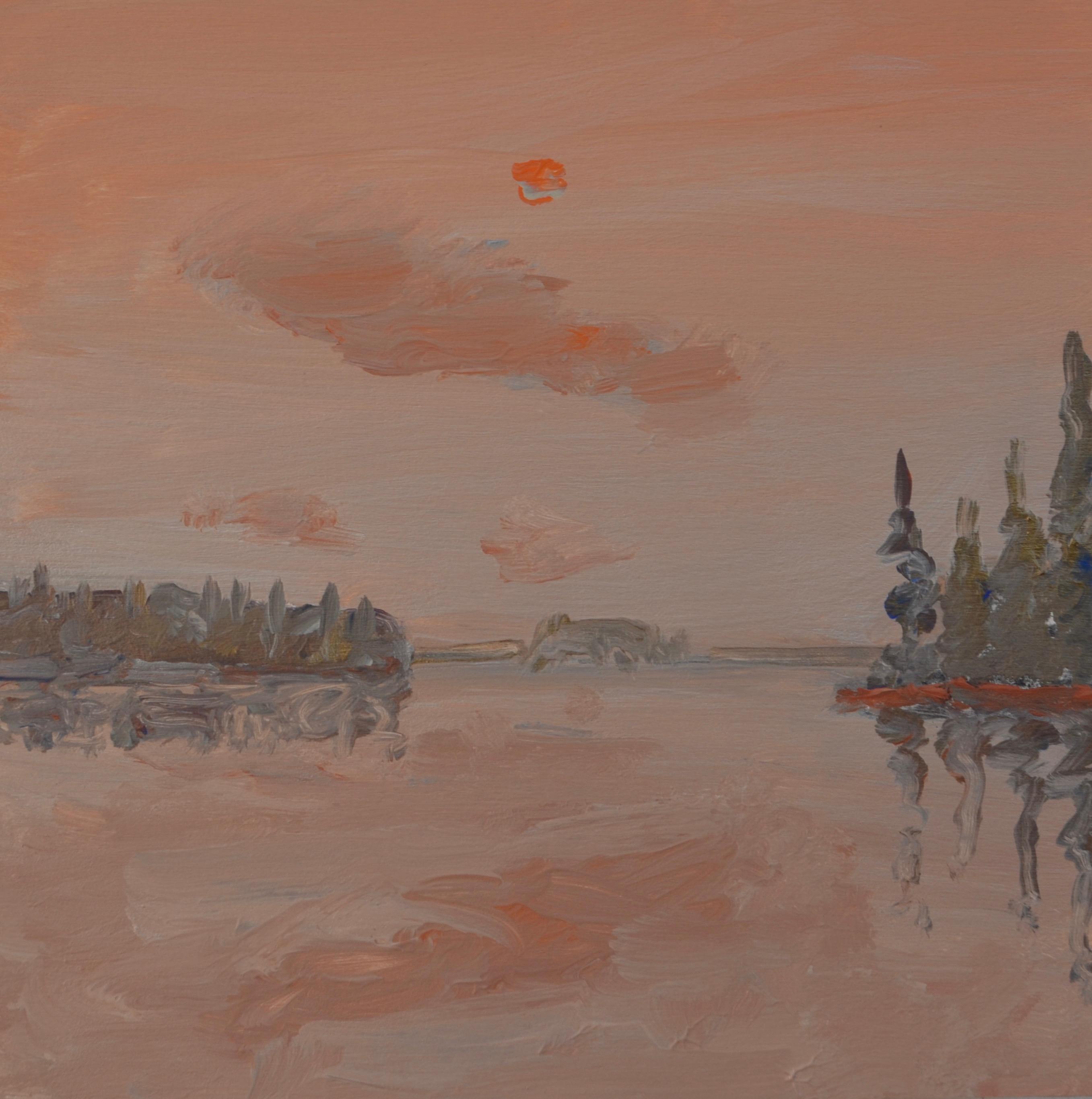 Early Morning Fog Burning Off 2016 acrylic on panel 10_ x 10_