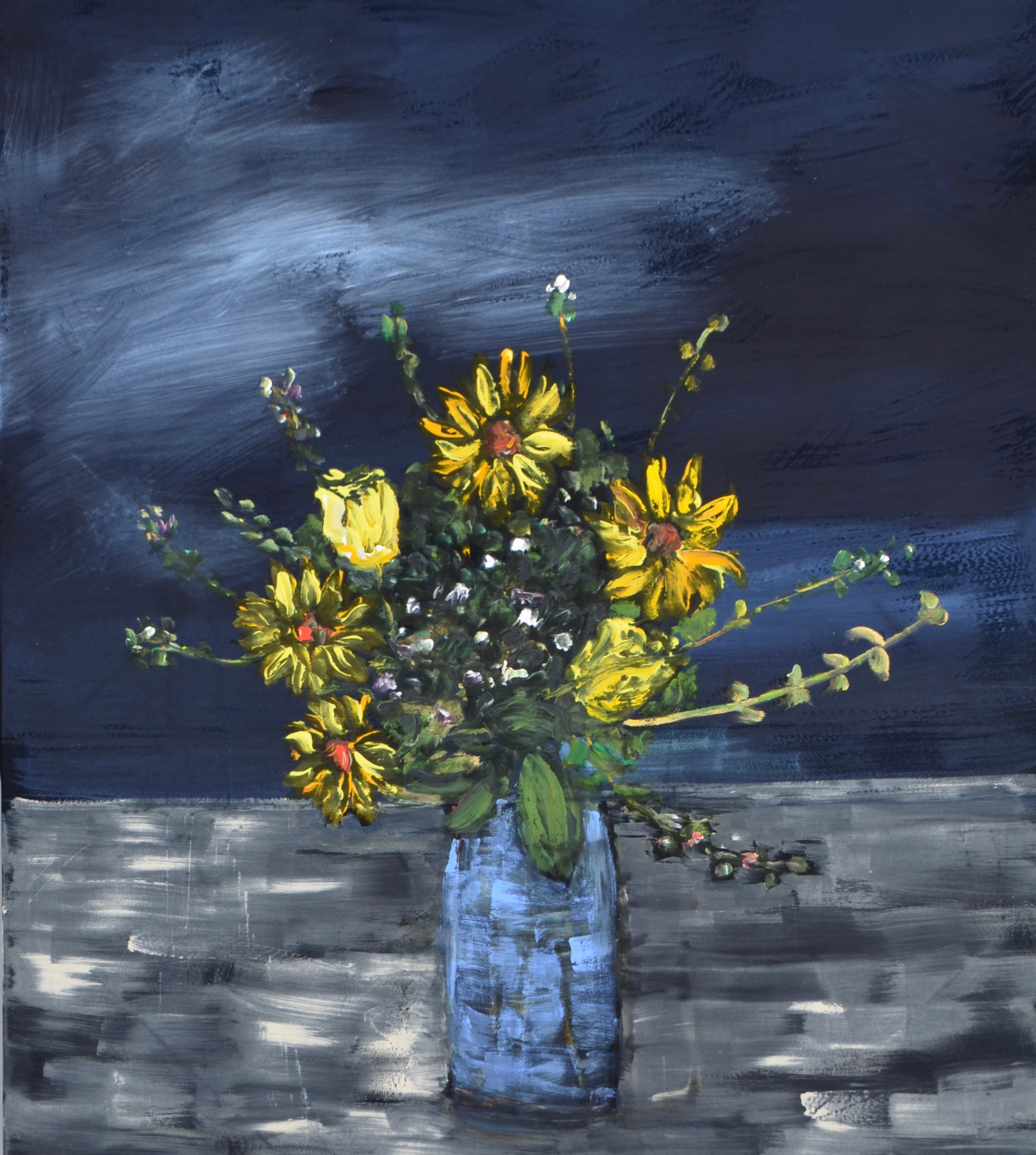 Flowers At Night 2019 acrylic on velvet 48_ x 54_
