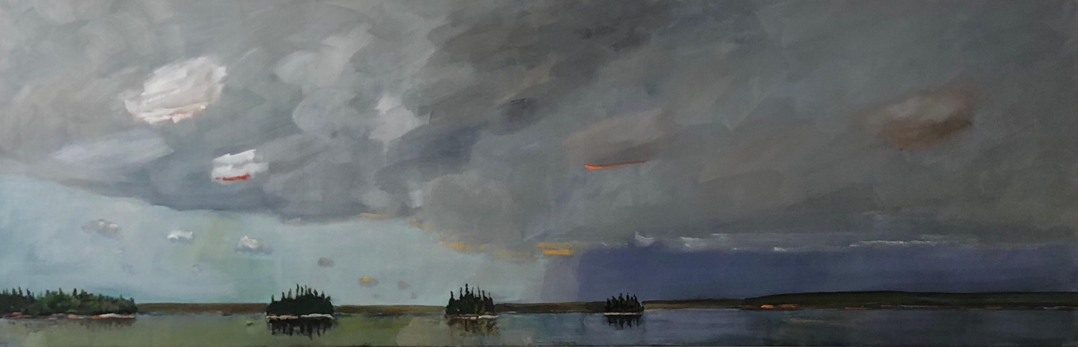 Three Islands 2019 acrylic on canvas 30_ x 90_