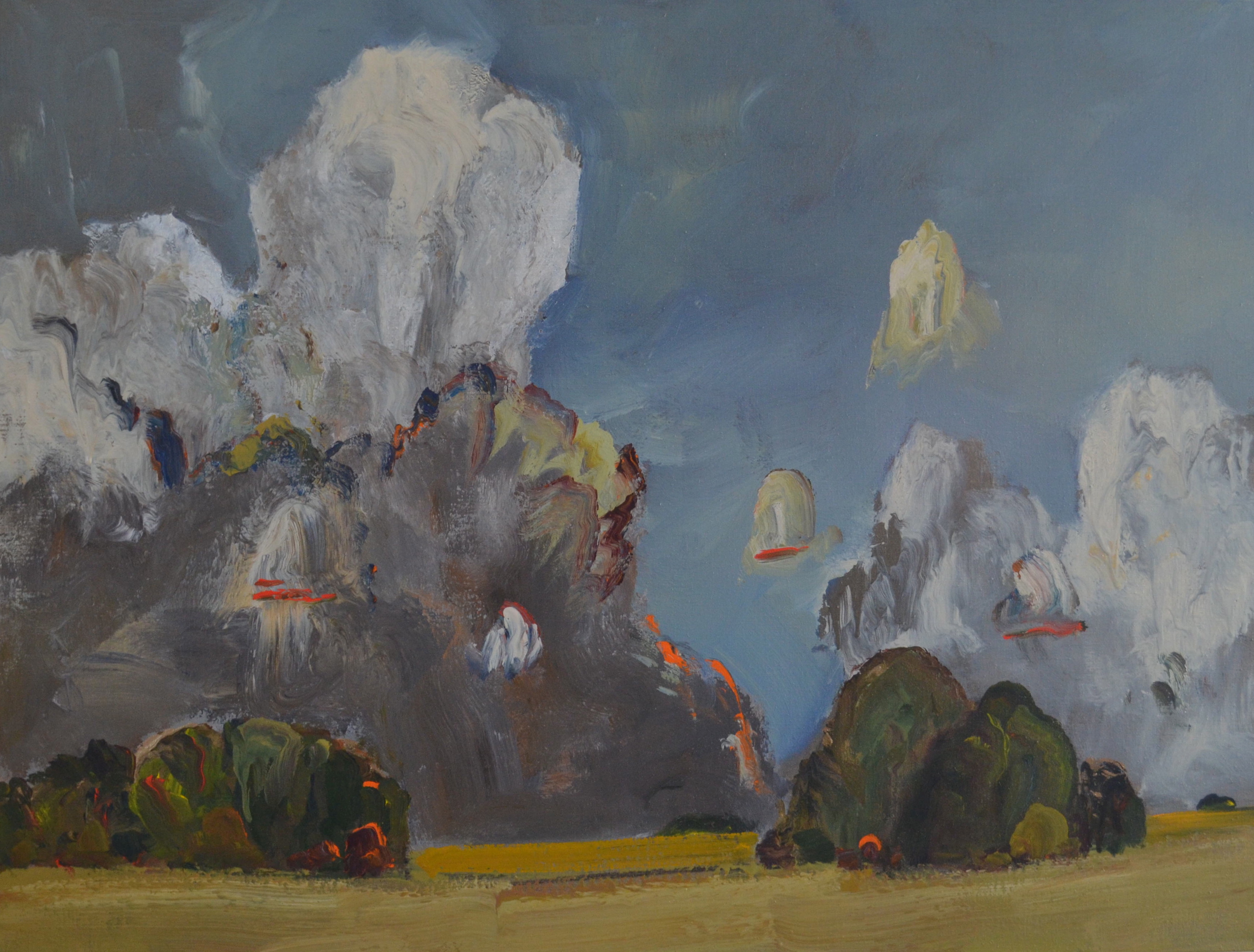 Poplar-Bluffs-and-Clouds-2013-36in-x-48in-Acrylic-on-linen