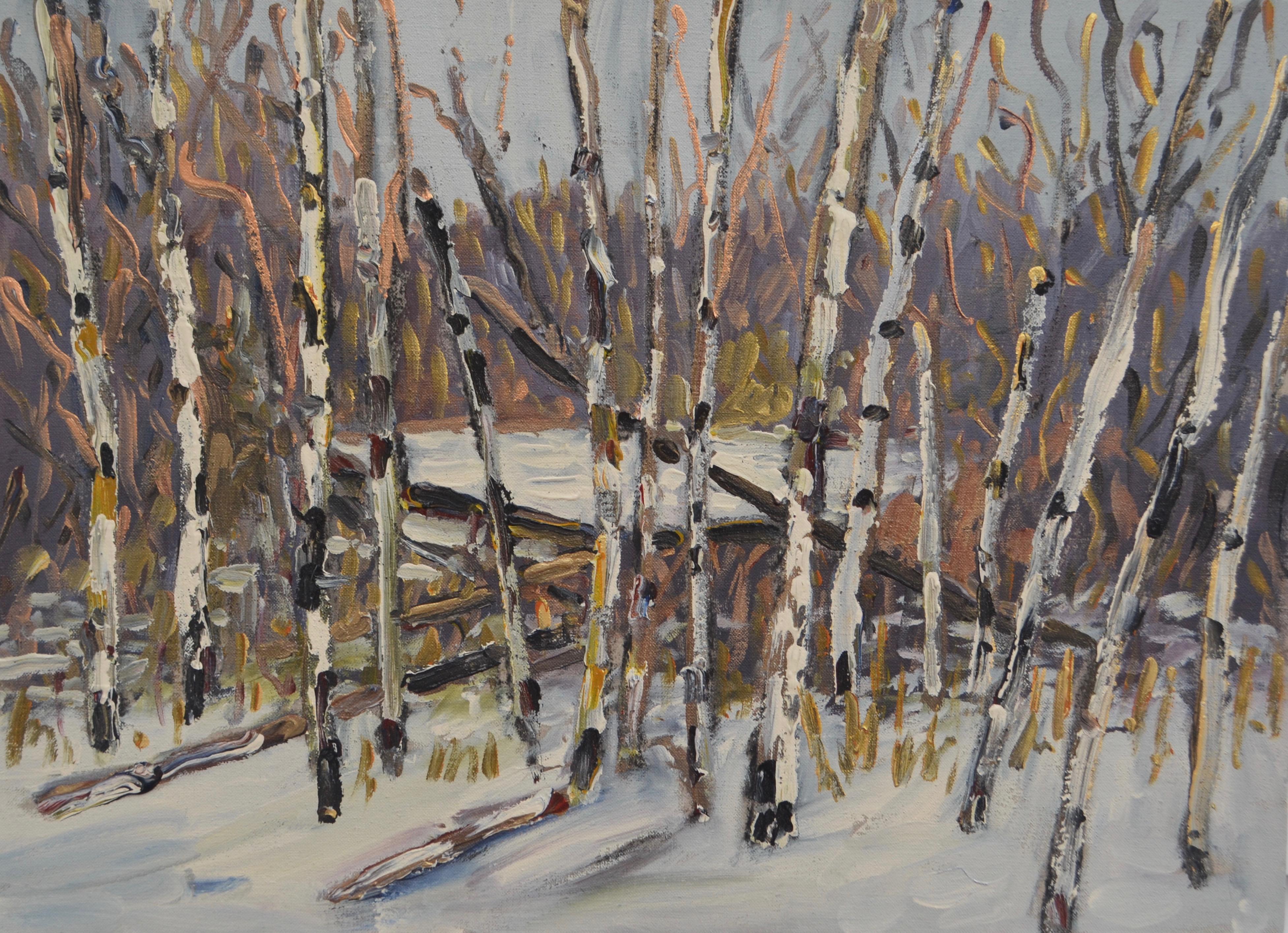 Poplars Snow and Willows 2017 acrylic on linen 22_ x 30_