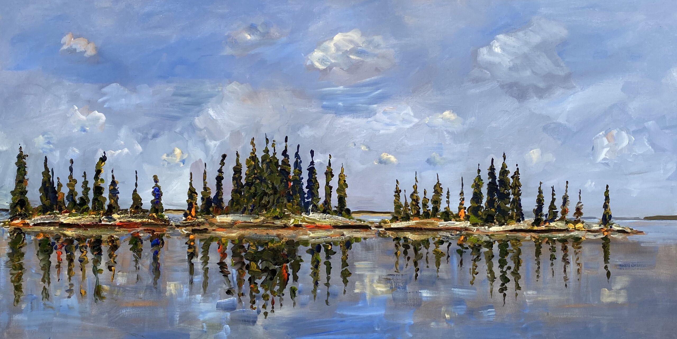 Little Islands, Mid Day 2020 acrylic on linen 43 x 80